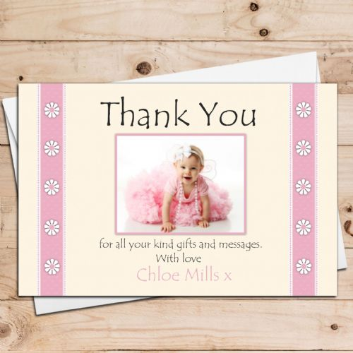 10 Personalised Girls Daisy Flower Thank you Photo Cards N22